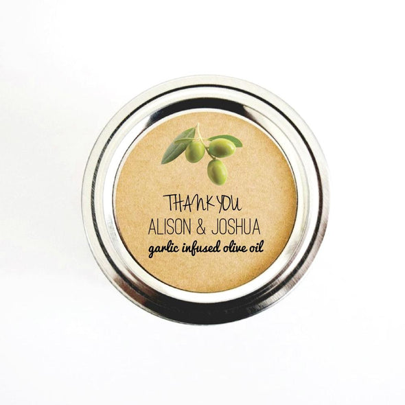 Personalized Olive Oil Wedding Favor Round Stickers