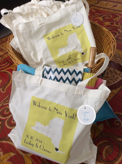 Custom Wedding Totes for Guest Welcome Bags Set of 20