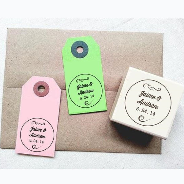 Vintage Swirls Personalized Wedding Rubber Stamp - Once Upon Supplies