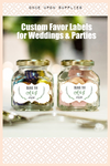 Custom Jar Favor Labels for Weddings and Parties with Green Vines Design