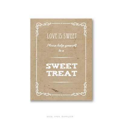 Rustic Love is Sweet Sign for Wedding Favors with Vintage Embellishments - Once Upon Supplies