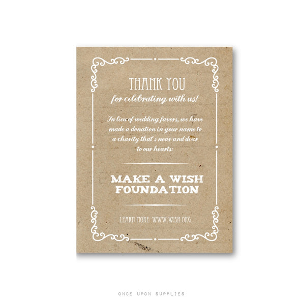 Rustic In Lieu of Favors Charity Donation Sign for Weddings - Printable or Printed - Once Upon Supplies