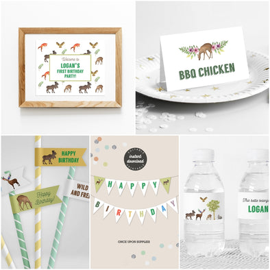 Woodland Forest Animals Kids Party Decor Package Printables