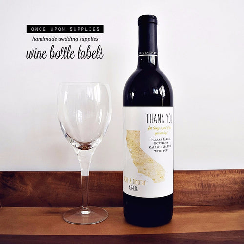California State Map Wine Labels. Personalized Wedding Wine Labels