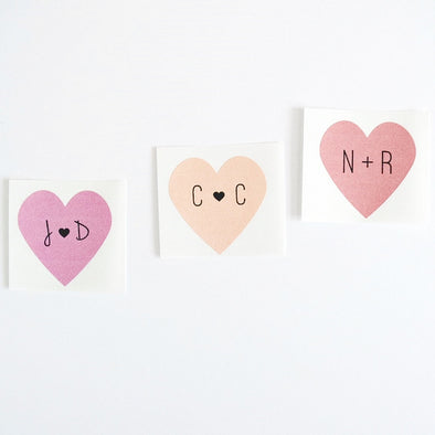 personalized heart labels with initials