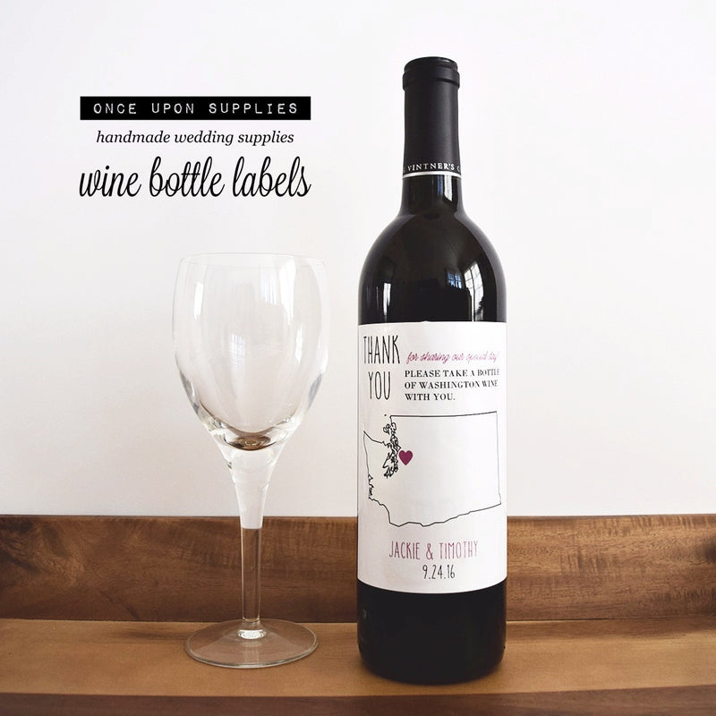 personalized state map wine bottle labels