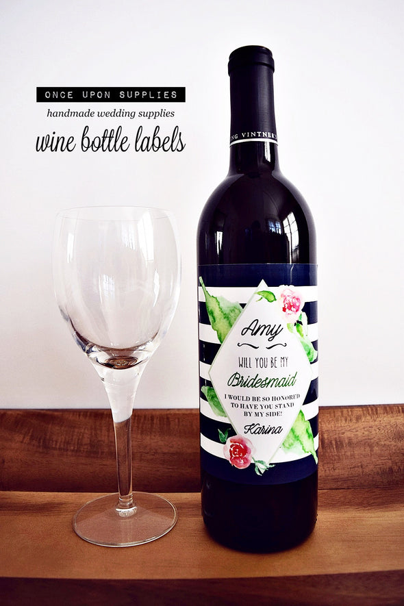 personalized water wine labels bridesmaid proposal gift