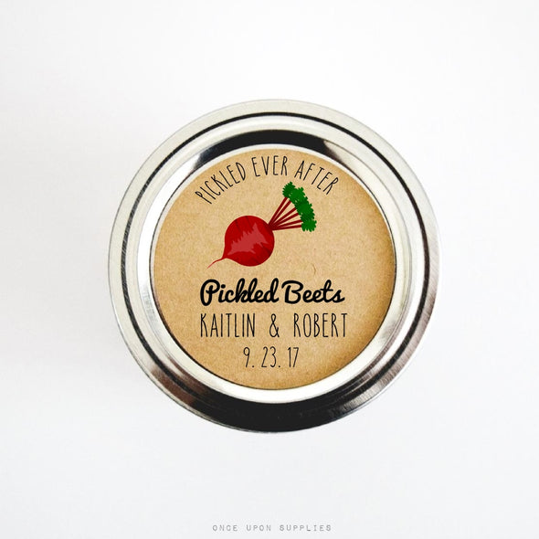 Pickled Beets Stickers for Wedding Favors, Round Rustic Labels - Once Upon Supplies