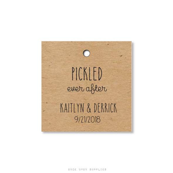 Rustic Pickled Ever After Wedding Favor Tags - Custom Pickle Hang Tags - Once Upon Supplies