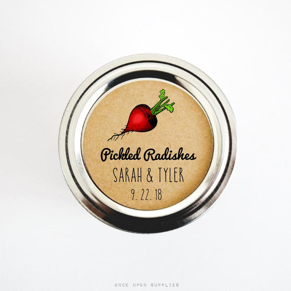 Pickled Radishes Wedding Favor Labels for Canning Jar Lids - Once Upon Supplies