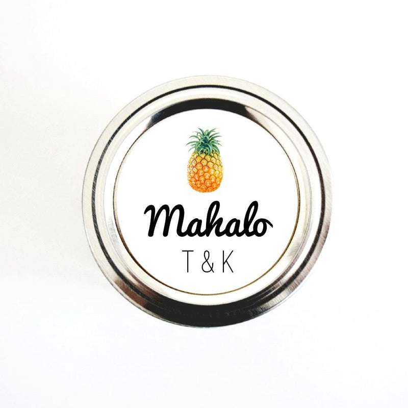 Pineapple Mahalo Wedding Favor Labels