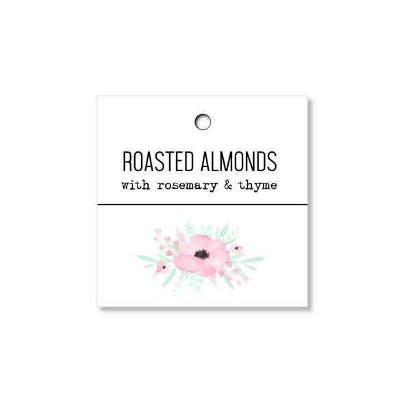 Pink Floral Wedding Tags for Roasted Almonds Wedding Favors - Once Upon Supplies