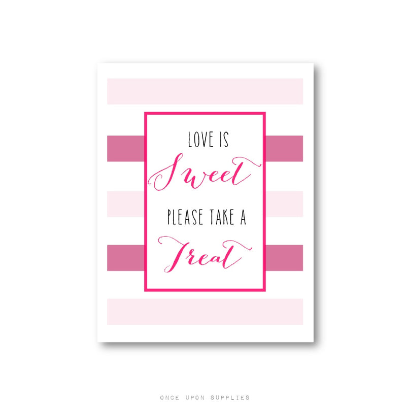 Love is Sweet Candy Bar Sign for Wedding Favors with Pink Stripes - Once Upon Supplies