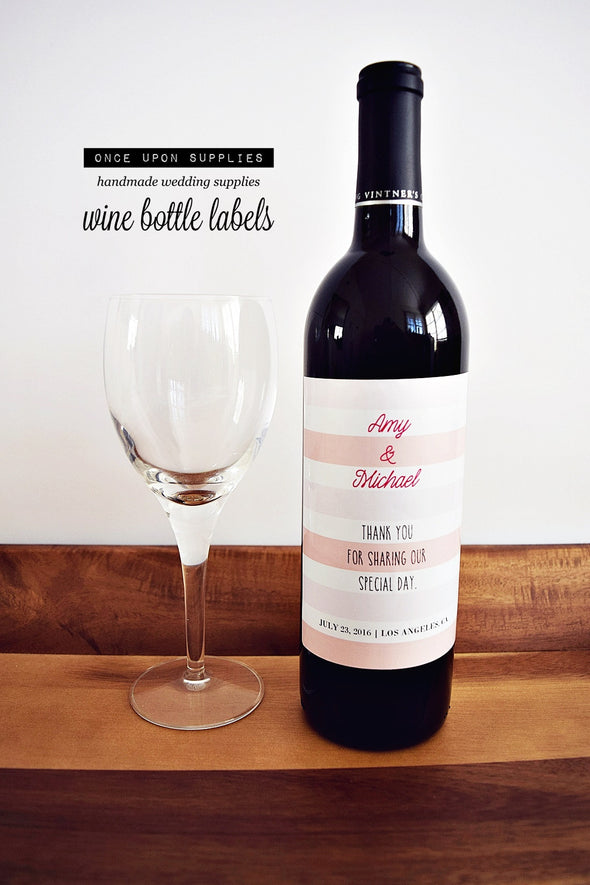 pink stripes wedding wine labels