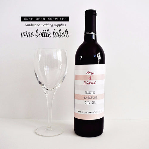 pink stripes will you be my bridesmaid wine gift labels