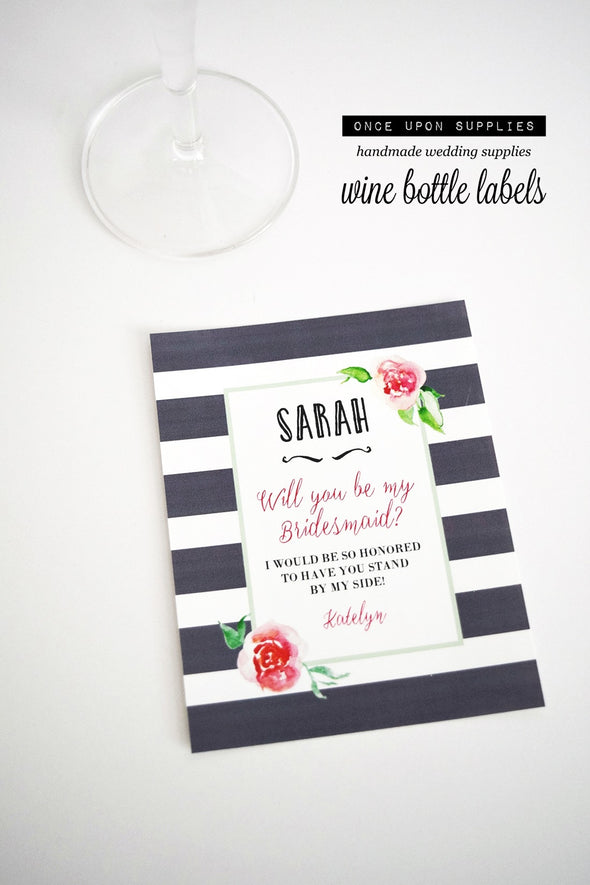 pink watercolor flowers gray stripes bridesmaid wine labels