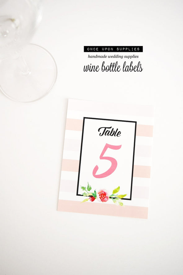 pink watercolor flowers wedding table number labels