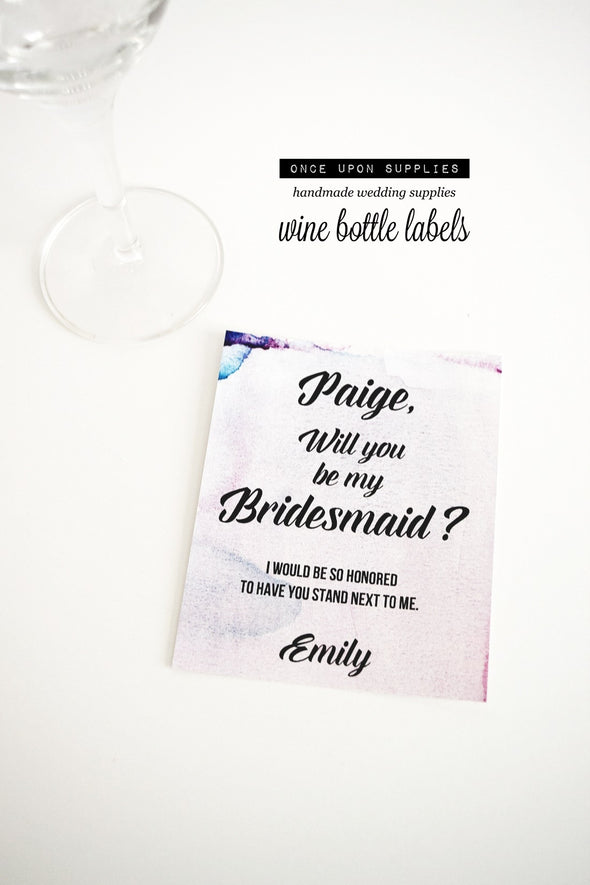 pink watercolor will you be my bridesmaid wine labels