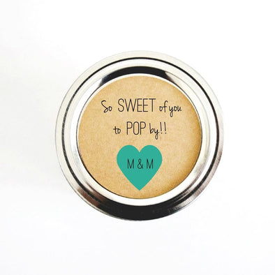 So Sweet of You to Pop by Popcorn Favor Stickers | Once Upon Supplies