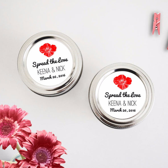 Poppy Flower Wedding Mason Jar Favor Labels - Once Upon Supplies