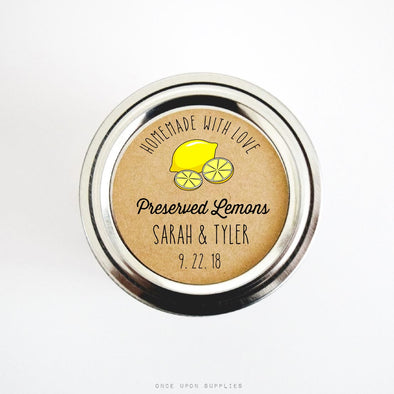 Preserved Lemon Stickers and Labels for Wedding Favors and Homemade Gifts - Once Upon Supplies