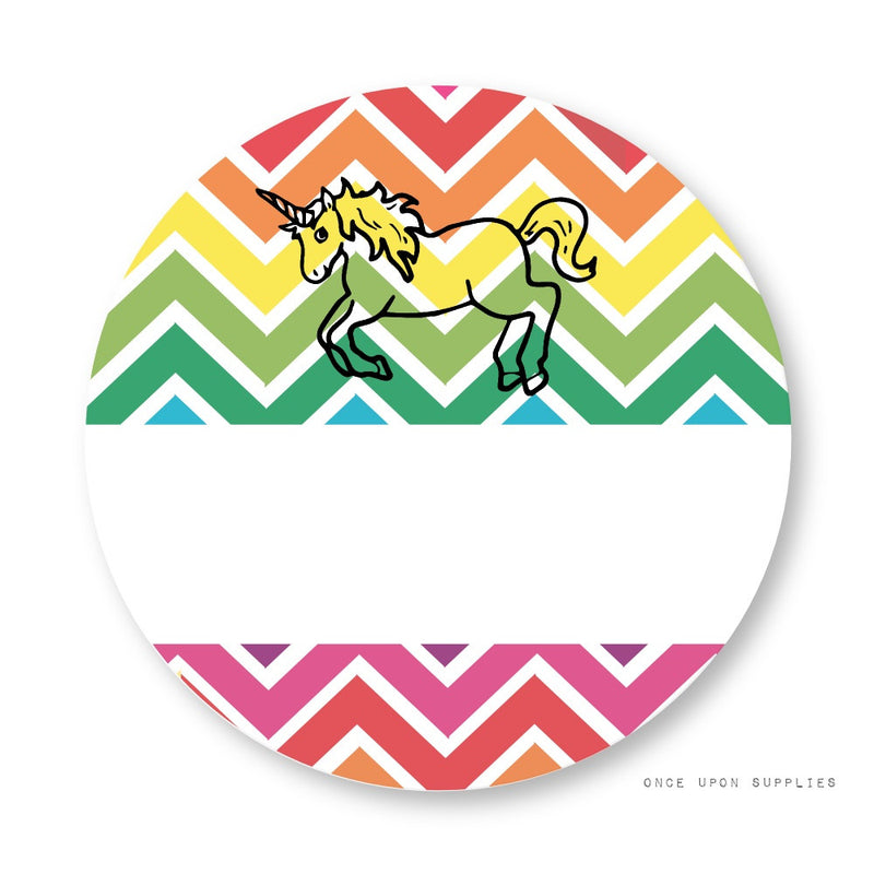 Rainbow Unicorn Stickers with Blank Space
