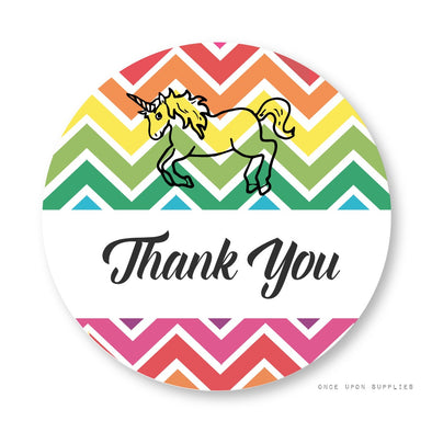 Thank You Stickers for Unicorn Party Favors | Once Upon Supplies