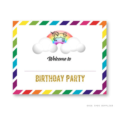 Rainbow Unicorn Birthday Party Welcome Sign