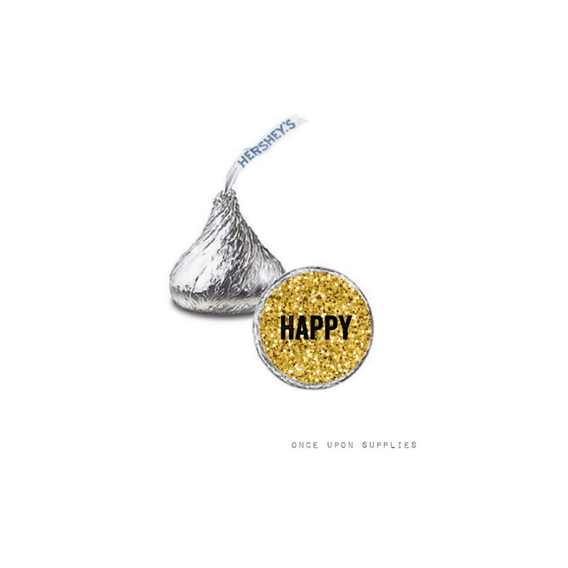 Rainbow Unicorn Happy Birthday Mini Chocolate Hershey's Kisses Stickers