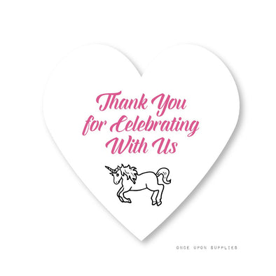 Rainbow Unicorn Birthday Party Heart Stickers