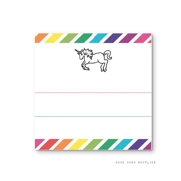 Rainbow Unicorn Birthday Party Square Stickers with Blank Lines