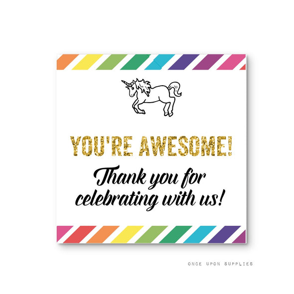 Rainbow Unicorn Birthday Party Thank You Square Labels