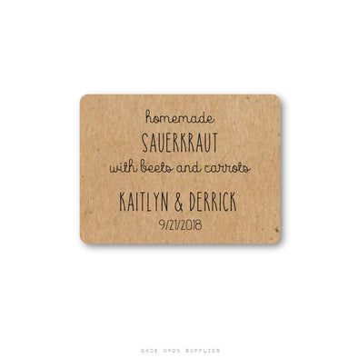 Sauerkraut Labels for Wedding Favors and Homemade Holiday Gifts - Rustic Rectangular Stickers for Canning Jars - Once Upon Supplies