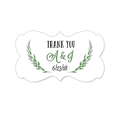Ornate Rectangular Thank You Stickers with Green Vines Design