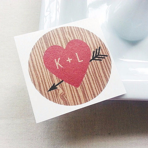 red heart and arrow tree bark wedding favor seals