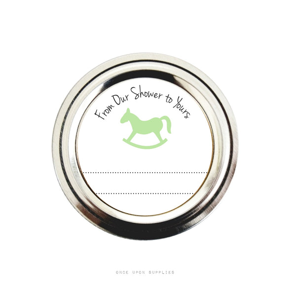 Green Rocking Horse Baby Shower Favor Labels | Baby Shower Stickers | Once Upon Supplies