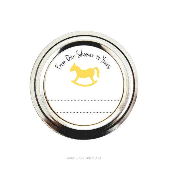 Yellow Rocking Horse Baby Shower Favor Labels | Baby Shower Stickers | Once Upon Supplies
