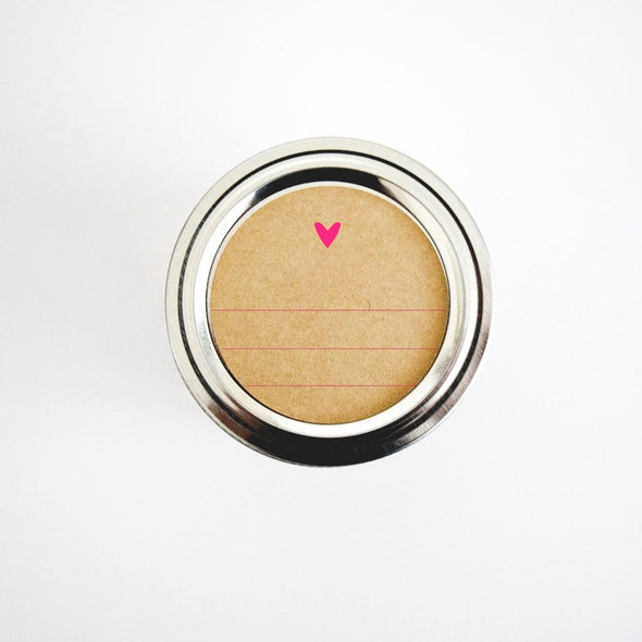 Round Jar Labels Heart Design - Once Upon Supplies