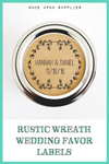 Rustic Laurel Wreath Wedding Favor Labels