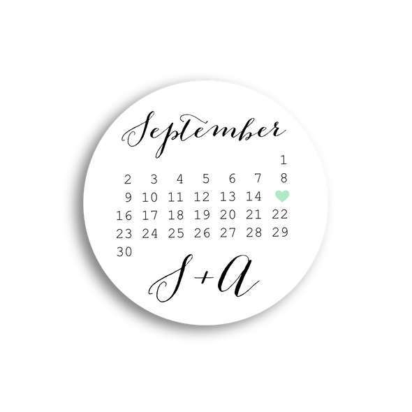 Save the Date Stickers and Labels with Calendar Design