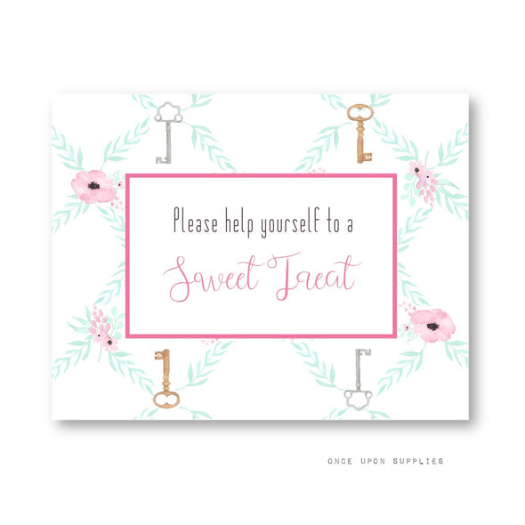 Secret Garden Birthday Party Decoration Candy Favor Sign