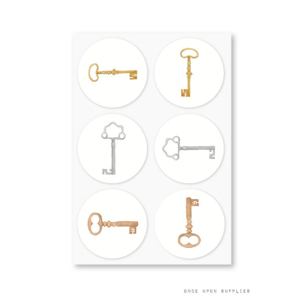 vintage keys stickers - secret garden collection