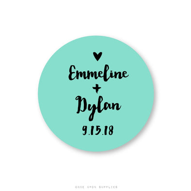 Personalized Wedding Stickers for Favors, Invitation Seals and Guest Welcome Gifts - Once Upon Supplies
