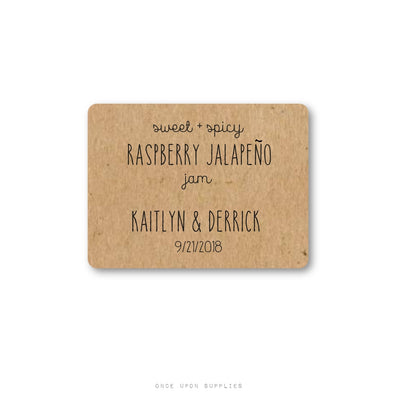 Rustic Rectangular Wedding Jam Favor Labels - Once Upon Supplies