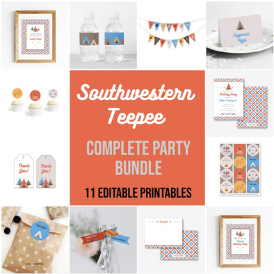 southwestern teepee complete party bundle printables