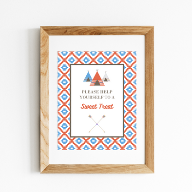 Southwest Inspired Teepee Birthday Party Favor Sign Printable