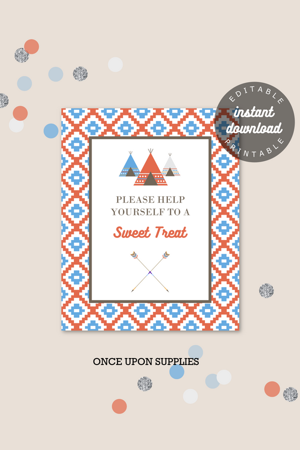 Teepee Kids Birthday Party Favor Sign Printable