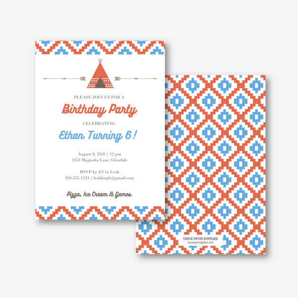 Southwestern Inspired Kids Birthday Party Invitation Printable