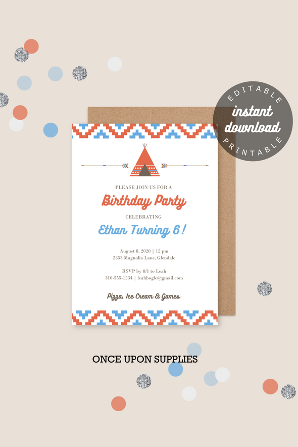 southwestern teepee kids birthday party invitation printable