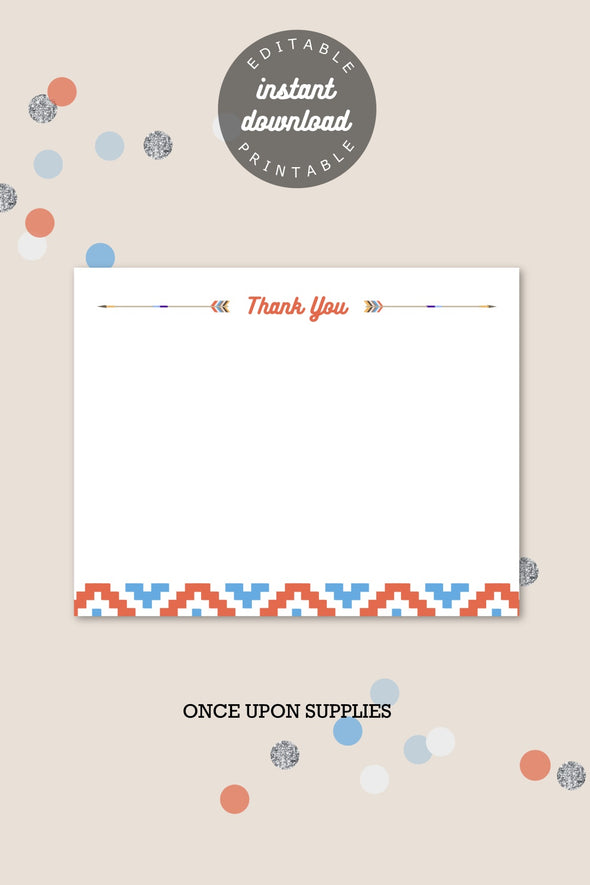 southwestern inspired thank you card printable instant download